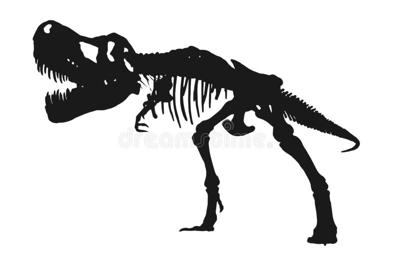 Het skeletsilhouet van tyrannosaurusrex op geïsoleerde witte achtergrond Vector royalty-vrije illustratie