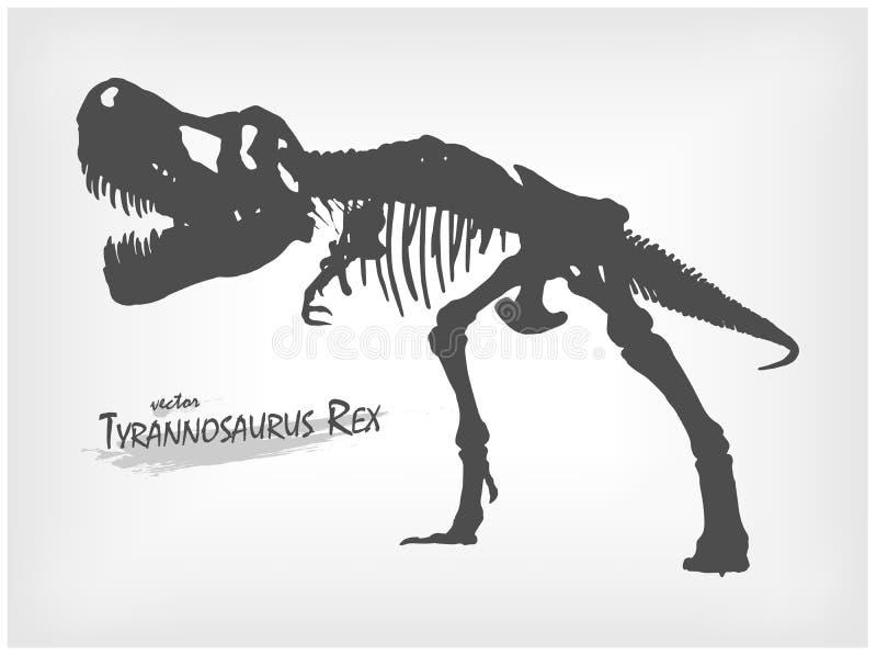 Het skeletsilhouet van tyrannosaurusrex op grijze gradiëntachtergrond Vector royalty-vrije illustratie