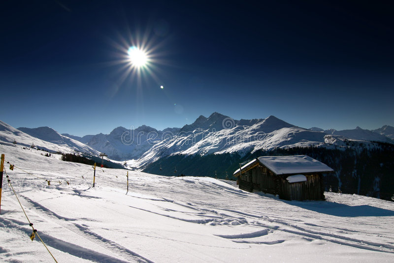 Het skiån in de Zwitserse Alpen royalty-vrije stock afbeeldingen