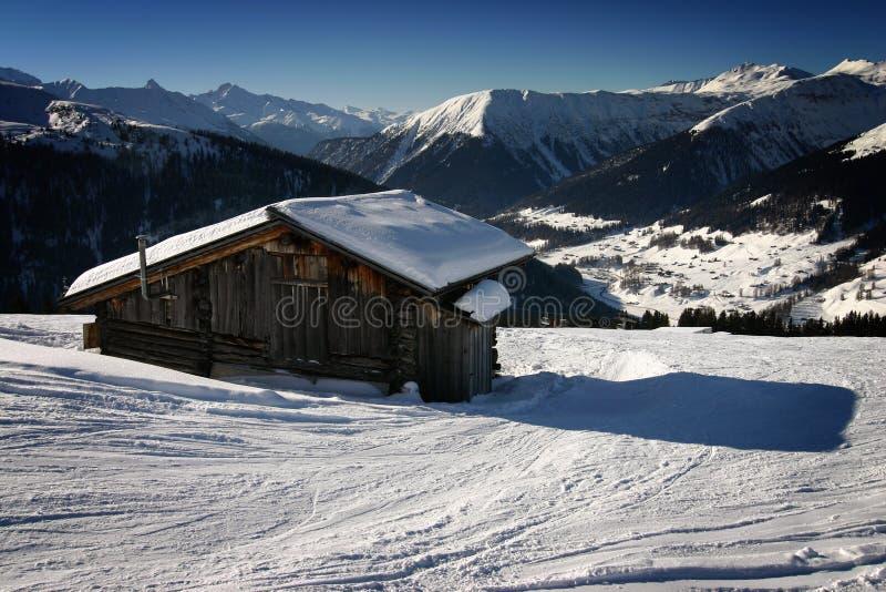 Het skiån in de Zwitserse Alpen stock foto