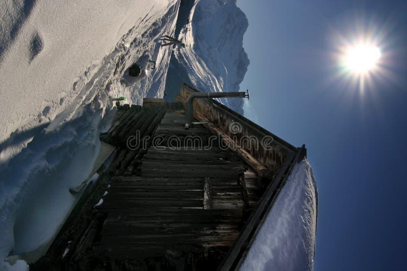 Het skiån in de Zwitserse Alpen stock afbeelding
