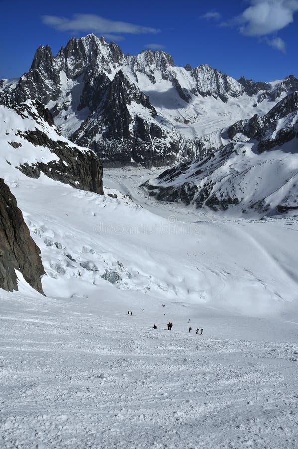 Het skiån op de Vallei Blanche stock afbeelding