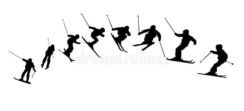 Het skiån opeenvolgingssilhouetten stock illustratie