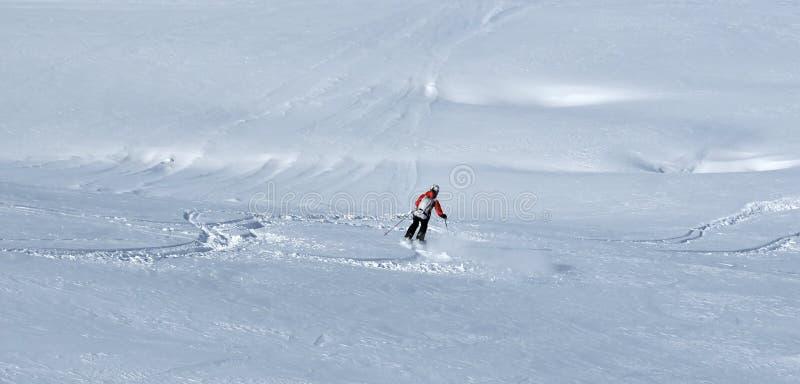 Het skiån in poedersneeuw royalty-vrije stock fotografie