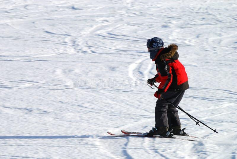 Het skiån van de jongen stock afbeelding