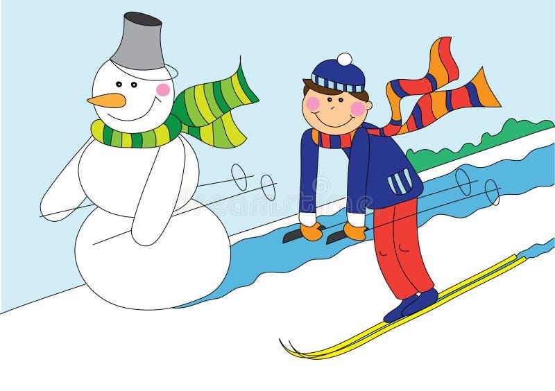 Het skiån van de sneeuwman en van de jongen royalty-vrije illustratie
