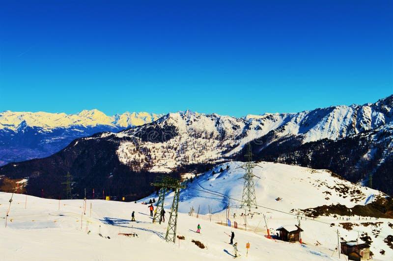 Het skiån in Zwitserse Alpen royalty-vrije stock afbeeldingen
