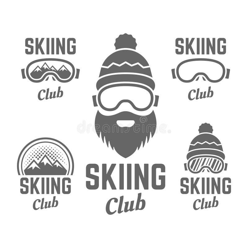 Het ski?en club geïsoleerde vectorkenteken of emblemen vector illustratie