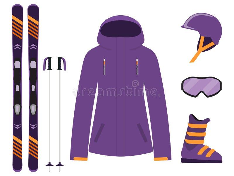 Het ski?en materiaal, reeks Skis, skistokken, helm, glazen, laarzen, jasje De pictogrammen van het de wintermateriaal Vectorillus stock illustratie