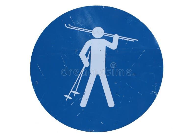 Het ski?en teken stock afbeeldingen