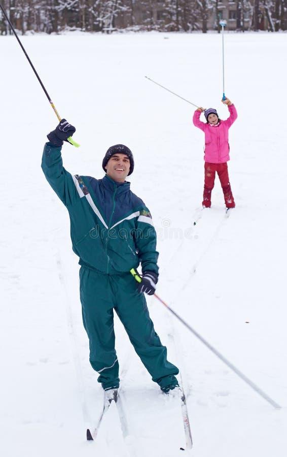 Het Ski?en van de familie royalty-vrije stock foto's