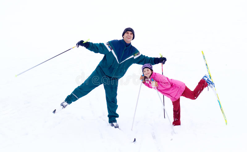 Het Ski?en van de familie royalty-vrije stock afbeelding