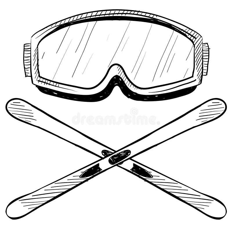 Het ski?en van het water toesteltekening royalty-vrije illustratie