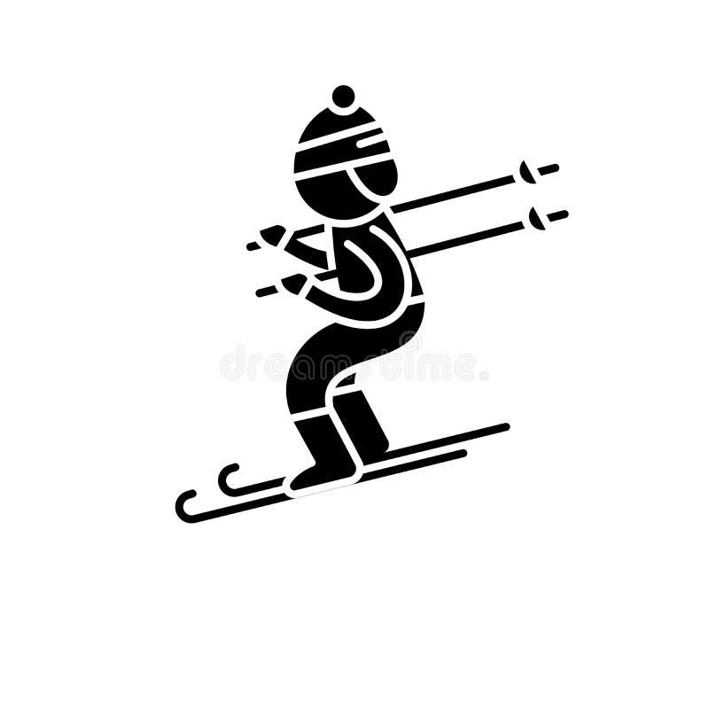 Het ski?en zwart pictogram, vectorteken op geïsoleerde achtergrond Het ski?en conceptensymbool, illustratie royalty-vrije illustratie