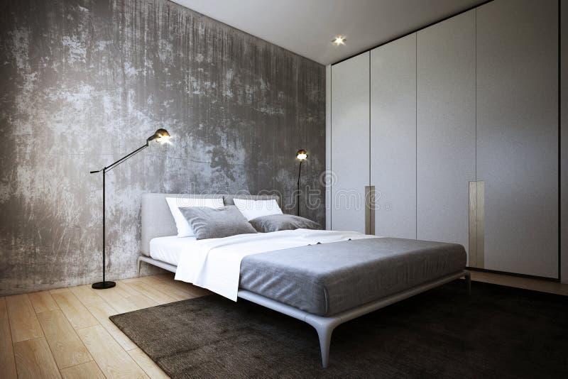 Het Slaapkamerontwerp, binnenlands van industriële stijl, het 3d Teruggeven, 3d illustratie stock illustratie