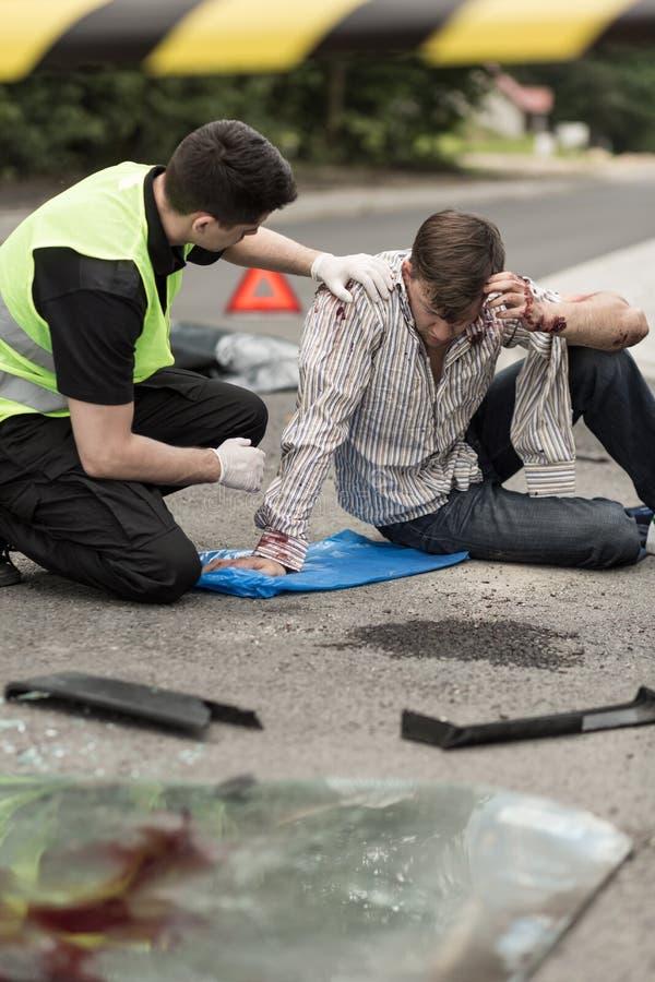 Het slachtoffer van de bomexplosie stock foto