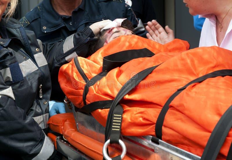 Het slachtoffer van het ongeval stock foto's