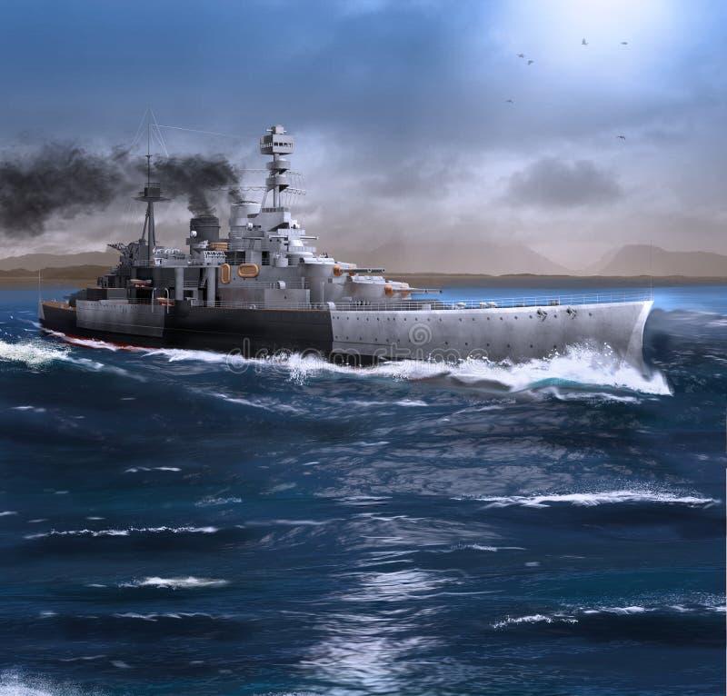 Het slagschip HMS wijst het stomen door de Oceaan af royalty-vrije illustratie