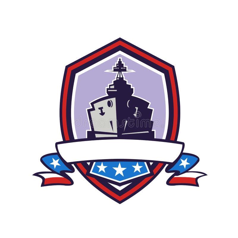 Het slagschip speelt Retro Strepencrest mee royalty-vrije illustratie