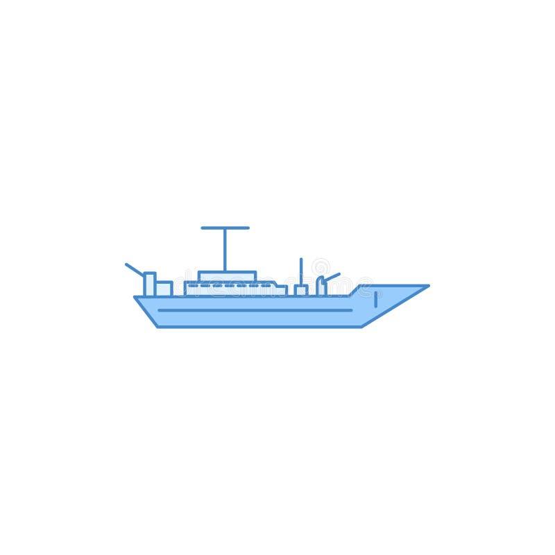 Het slagschip vulde overzichtspictogram Element van vervoerpictogram voor mobiel concept en Web apps Het dunne lijnslagschip vuld vector illustratie