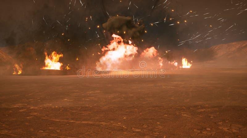 Het slagveld in de rook in het midden van explosies op een niet in kaart gebrachte planeet het 3d teruggeven vector illustratie