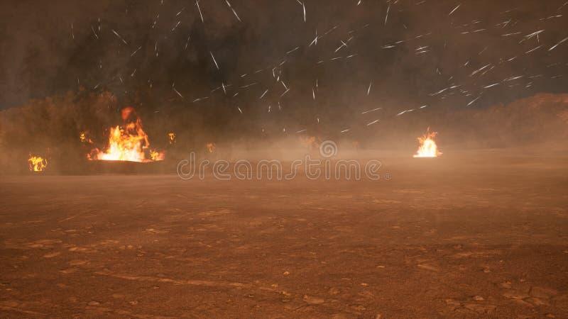 Het slagveld in de rook in het midden van explosies op een niet in kaart gebrachte planeet het 3d teruggeven stock illustratie