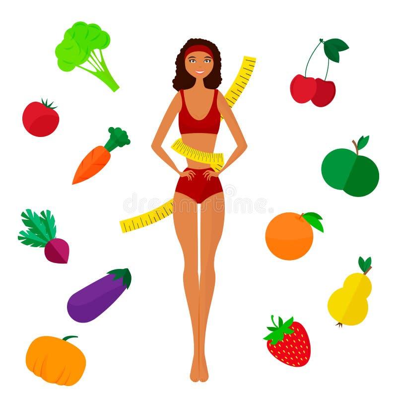 Het slank donker-gevilde en Vermageringsdieetmeisje Dieet stock illustratie