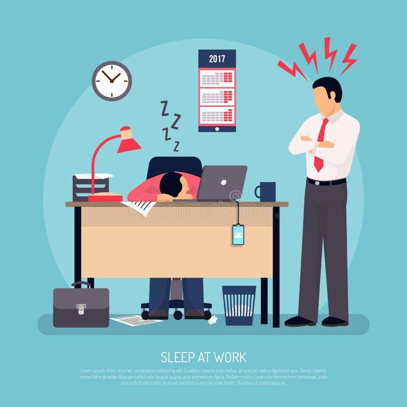Het slapen bij het Werk Vlakke Affiche stock illustratie