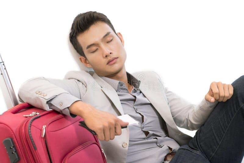 Het slapen in luchthaven royalty-vrije stock fotografie