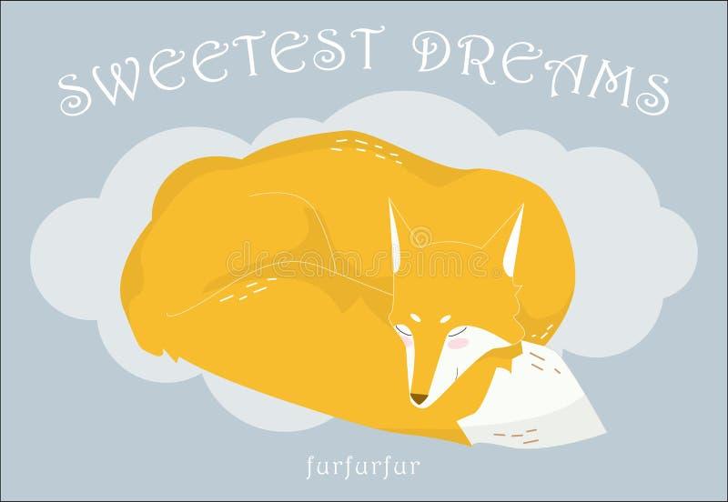 Het slapen op een wolken rode vos op een grijze achtergrond De tekst van Th stock illustratie