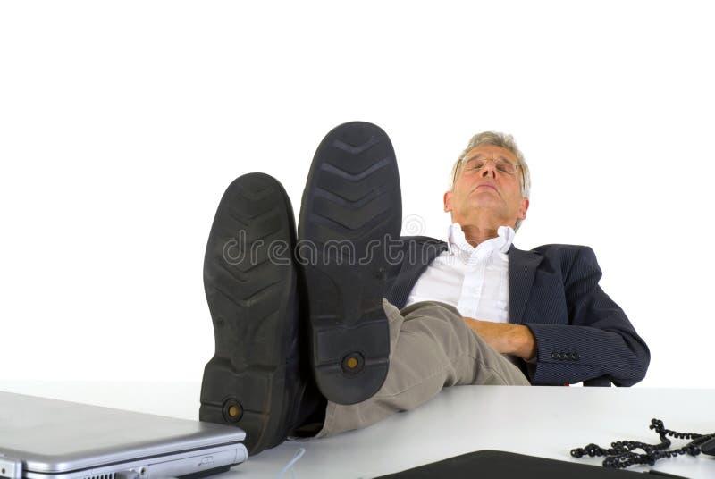 Het slapen op het kantoor stock foto