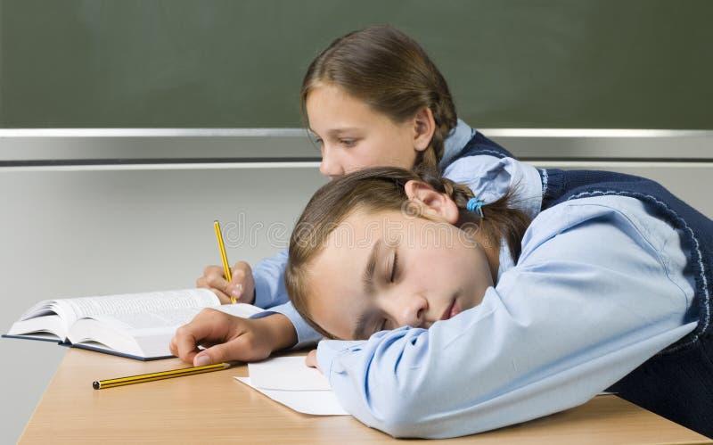 Het slapen op school royalty-vrije stock fotografie