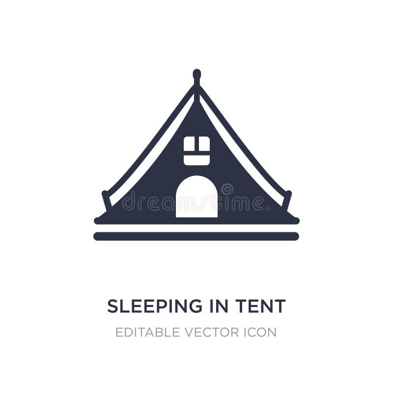 het slapen in tentpictogram op witte achtergrond Eenvoudige elementenillustratie van Algemeen concept royalty-vrije illustratie
