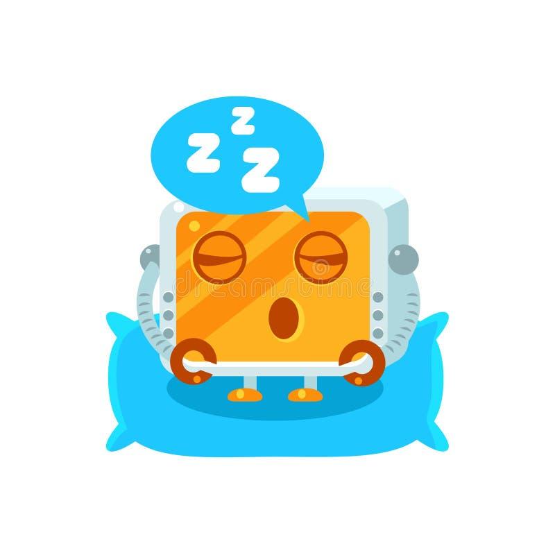 Het slapen van Weinig Robotkarakter stock illustratie