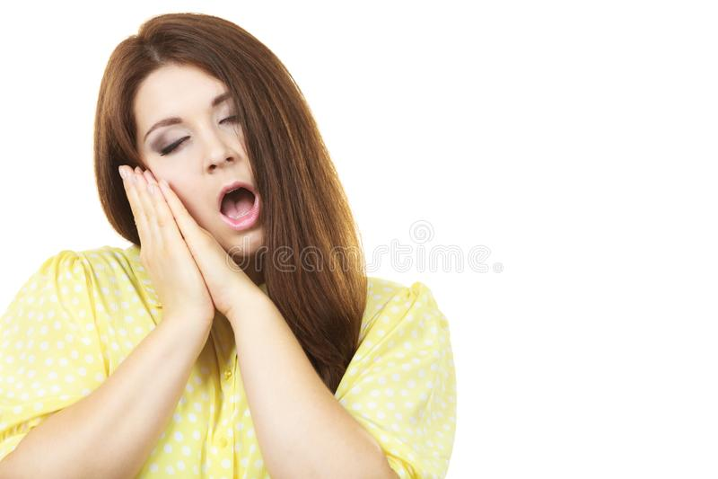 Het slaperige kalme vrouw gesturing stock afbeelding