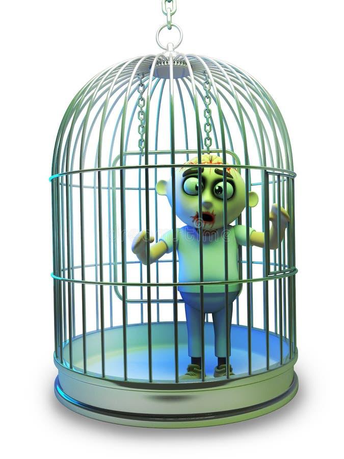 Het slechte Halloween-zombiemonster is opgesloten in een vogelkooi, 3d illustratie royalty-vrije illustratie