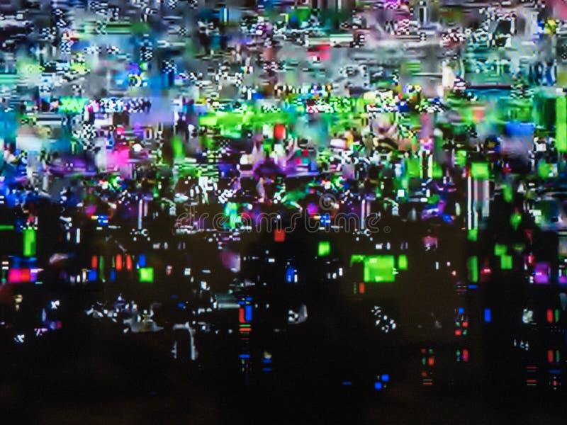 Het slechte TV-signaal, televisieinterferentie, kleurt digitaal lawaai abstracte achtergrond royalty-vrije stock afbeelding