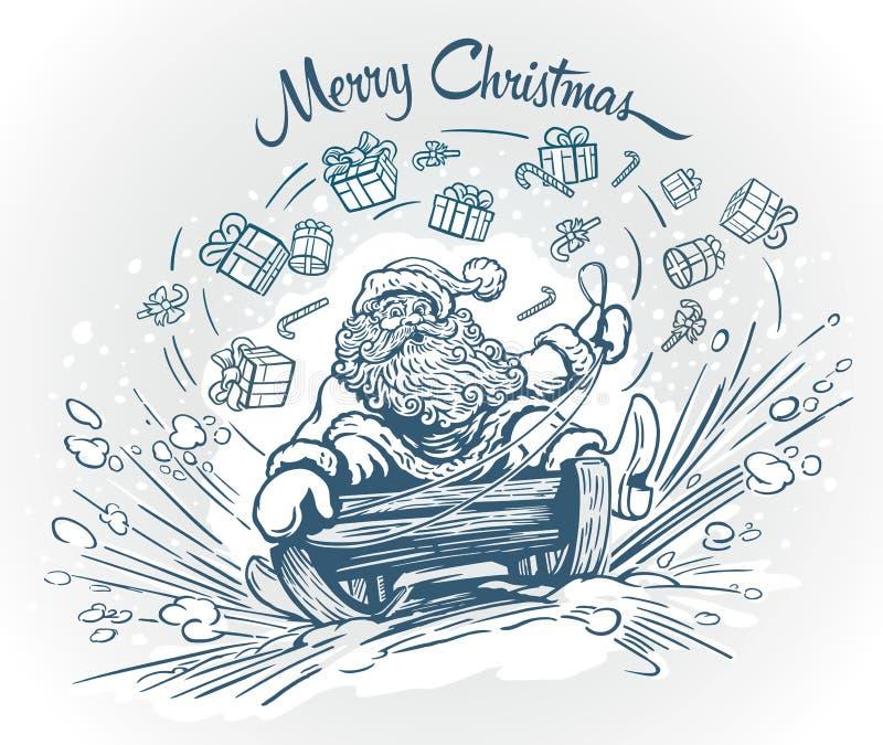 Het sledding van de Kerstman stock illustratie