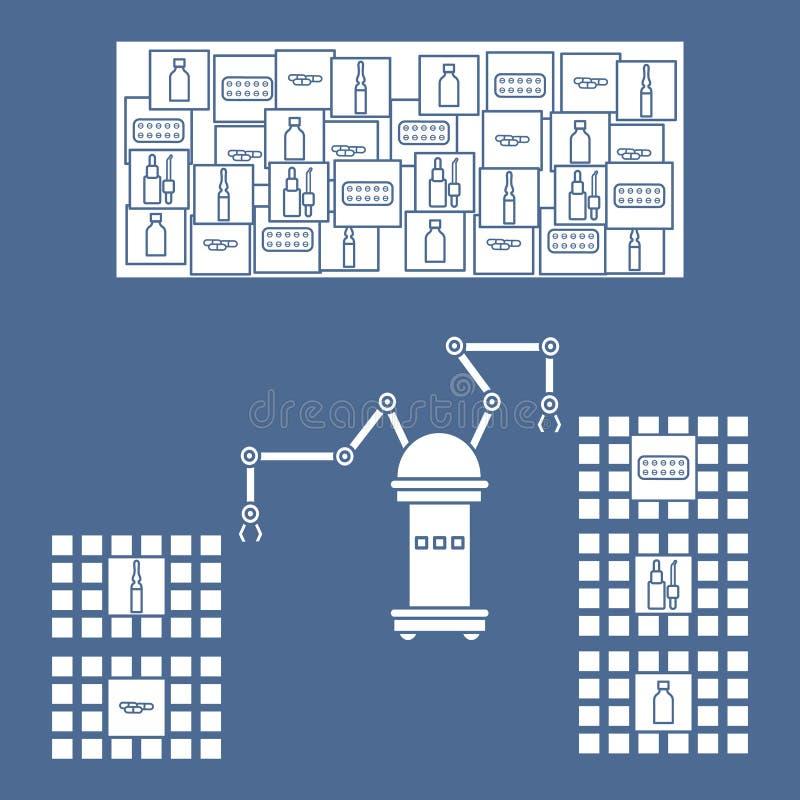 Het slimme automatische robotachtige sorteren van drugs royalty-vrije illustratie