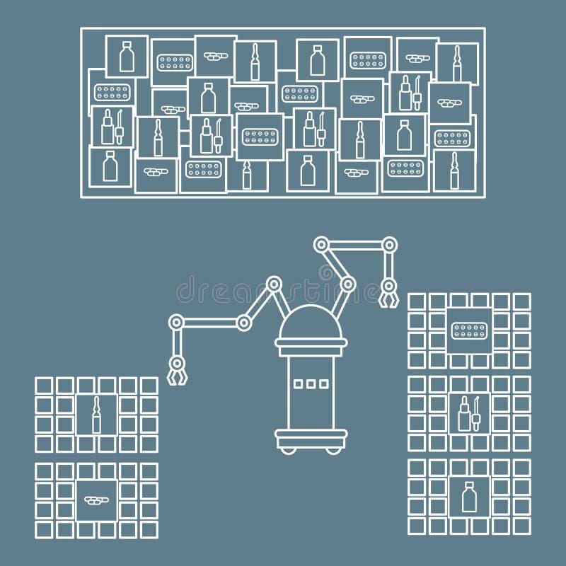 Het slimme automatische robotachtige sorteren van drugs Vervanging van mensen met robotachtige mechanismen Ontwikkeling van kunst stock illustratie