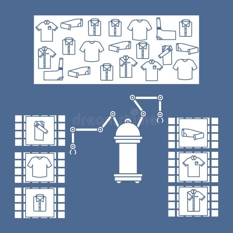 Het slimme automatische robotachtige sorteren van kleren vector illustratie