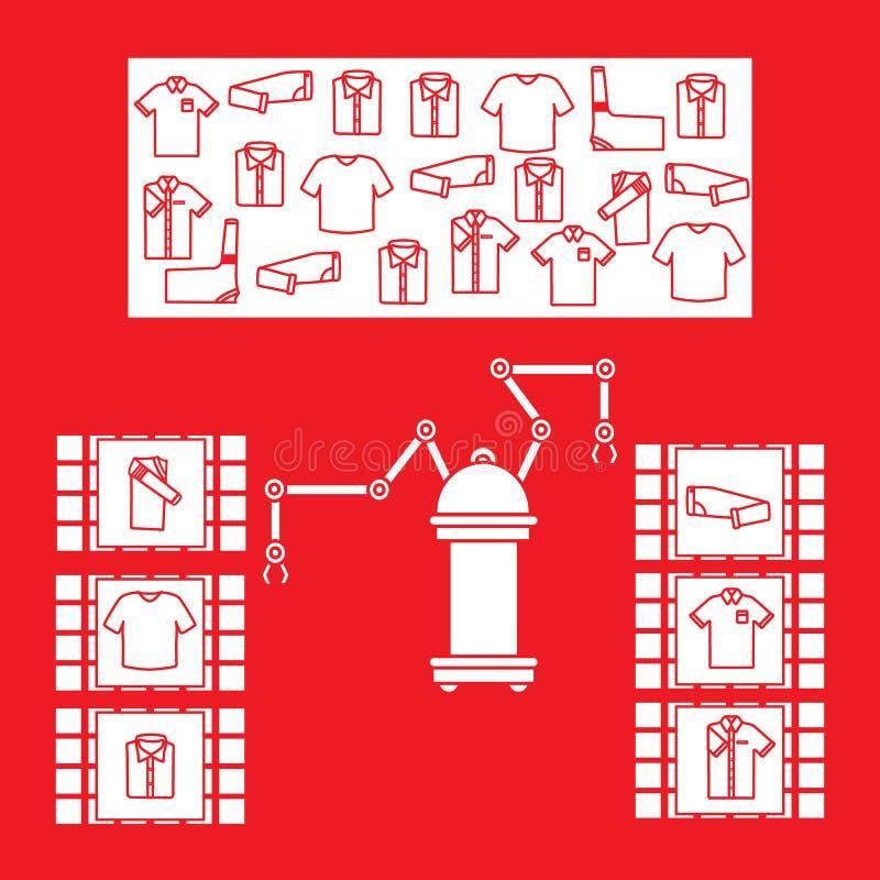 Het slimme automatische robotachtige sorteren van kleren stock illustratie