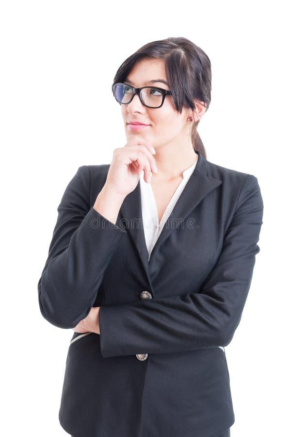Het slimme bedrijfsvrouw denken royalty-vrije stock foto's