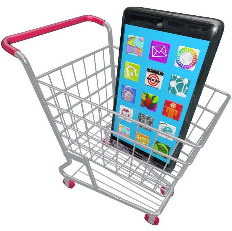 Het slimme Boodschappenwagentje die van Telefooncellphone Apps Nieuwe Telefoon kopen stock illustratie