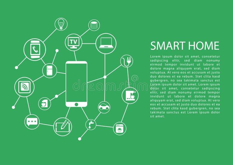 Het slimme concept van de huisautomatisering met mobiele die telefoon aan netwerk van apparaten wordt aangesloten royalty-vrije illustratie
