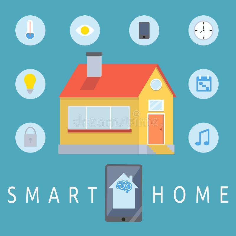 Het slimme concept van de huiscontrole stock illustratie