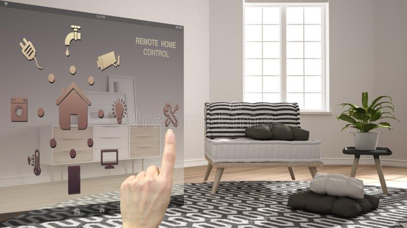 Het slimme concept van de huiscontrole, hand die digitale interface van mobiele app controleren Achtergrond die moderne witte en  royalty-vrije stock afbeelding