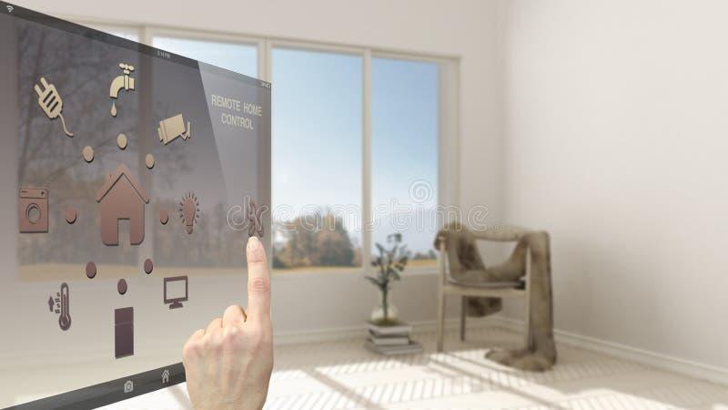 Het slimme concept van de huiscontrole, hand die digitale interface van mobiele app controleren Vage achtergrond die moderne woon royalty-vrije stock fotografie