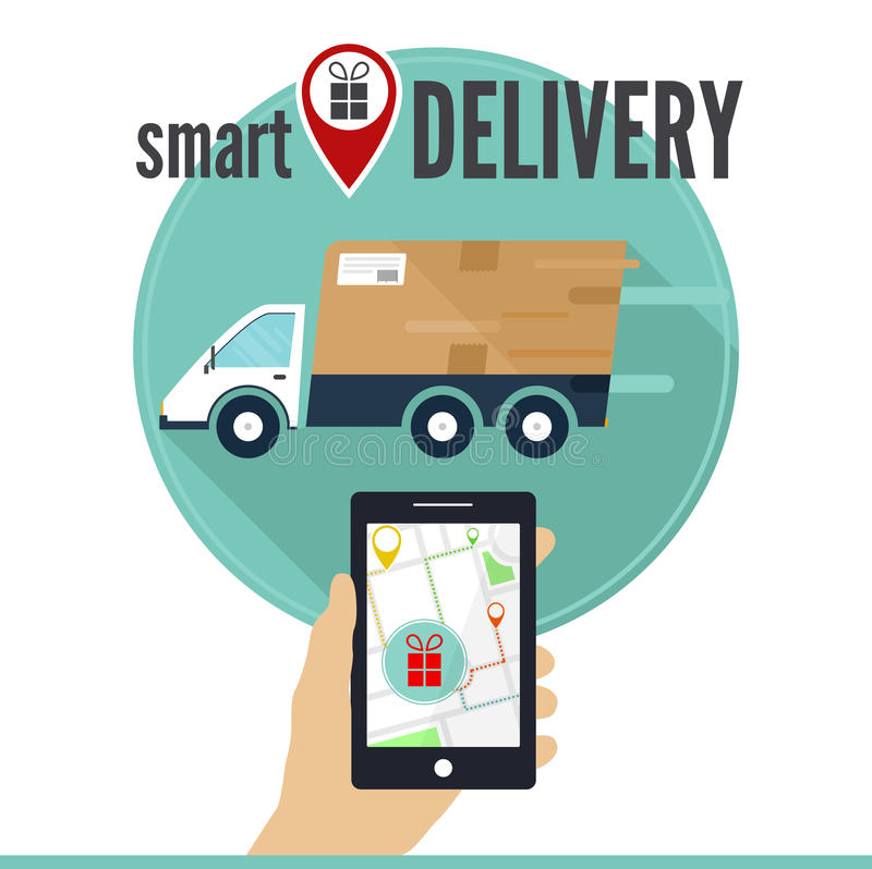 Het slimme concept van de leveringsdienst Smartphone met de toepassing van de leveringsdienst op het scherm, een auto, een straat royalty-vrije stock foto