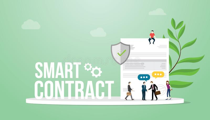 Het slimme contractconcept met de grote mensen van het woordenteam en document het document met de zegel en bedrijfsmens behandel royalty-vrije illustratie